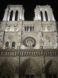 Exterior of Notre Dame at night