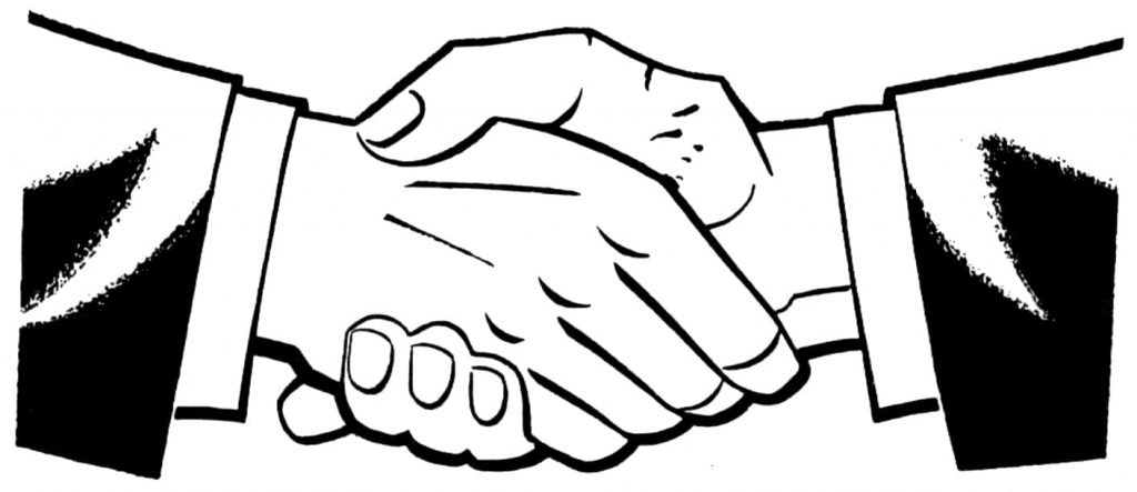 Black and white drawn image of a handshake