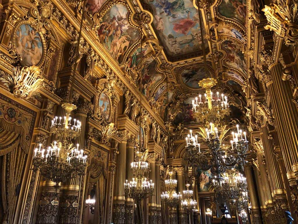 A view of the beautiful chandeliers in the Garnier Opera House
