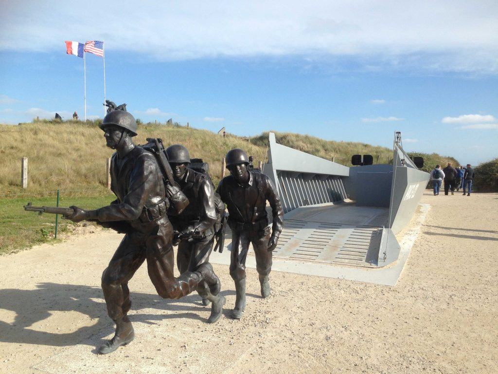 Memorial at Utah Beach of soldiers disembarking the Higgins boats