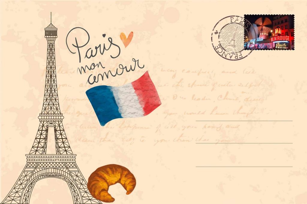 Image of a postcard with the Eiffel Tower, the French flag, and a croissant from your first visit to Paris.
