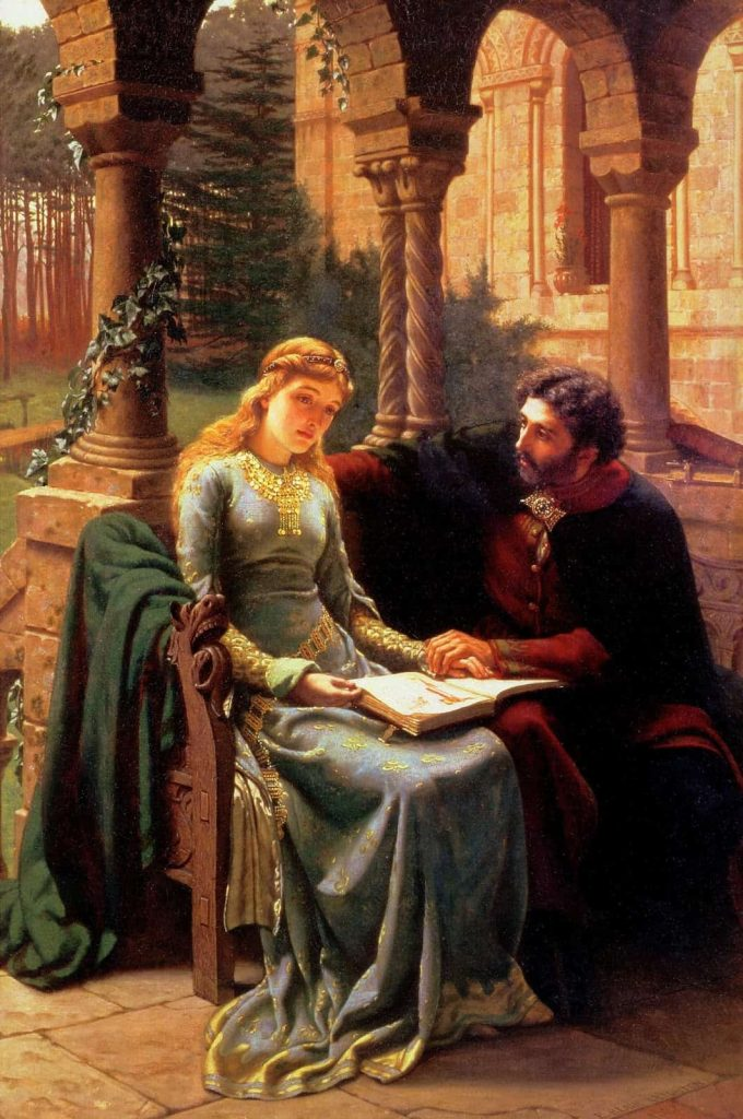 Painting by Edmund Blair Leighton of Heloise and Abelard