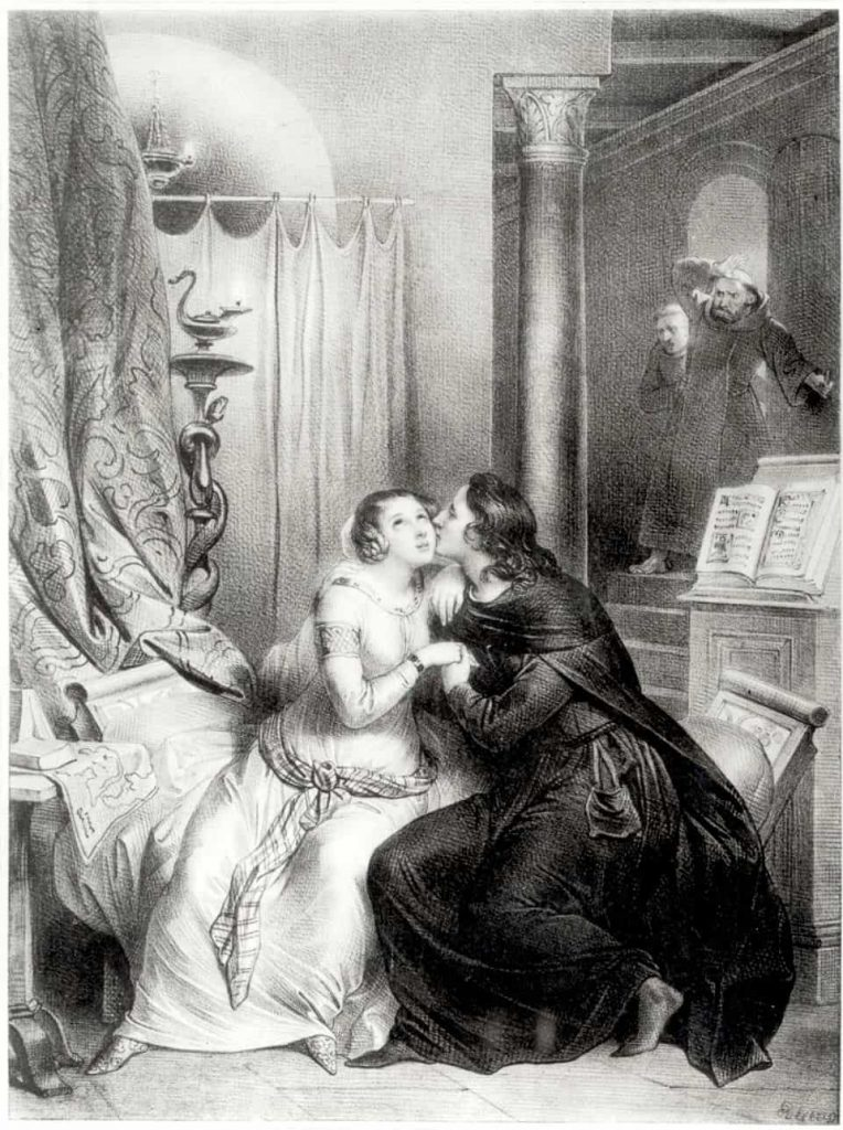 Rendering of Heloise and Abelard's affair being discovered by Fulbert