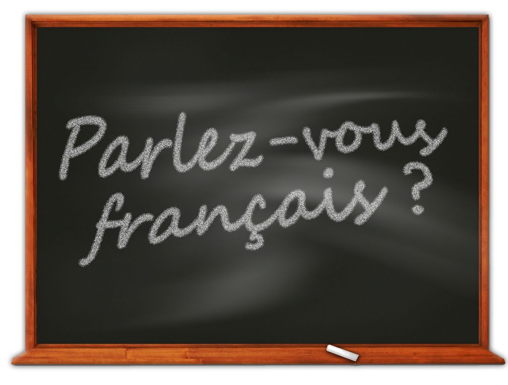 "Chalkboard that says ""Parlez-vous francais?"" to help learn French phrases"