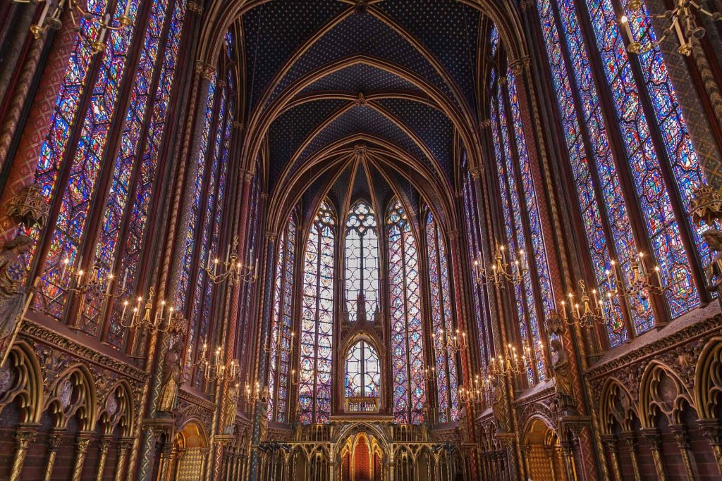 A photo of the famous 13th century stained glass windows in Sainte Chapelle