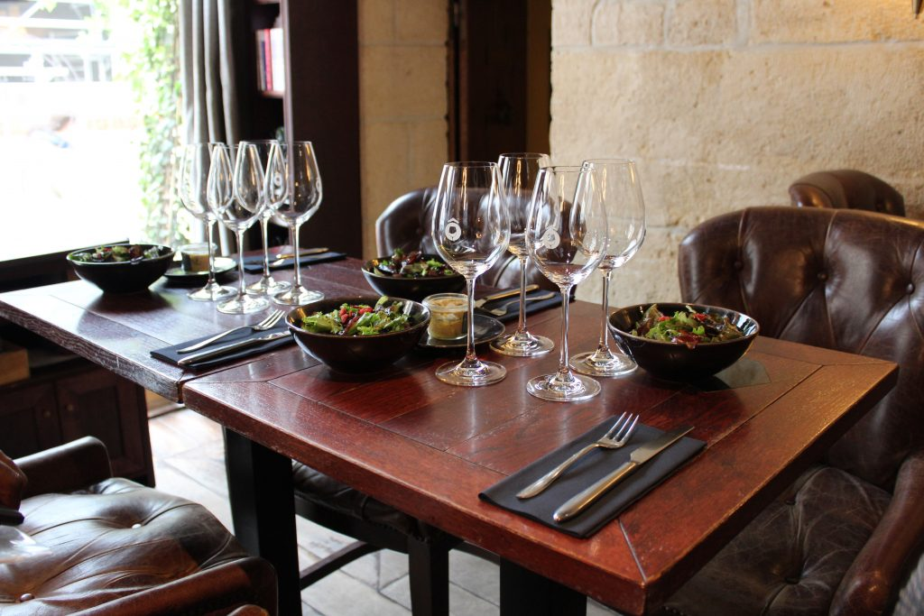 Table set for lunch and a wine tasting at the end of the Memories France food tour.