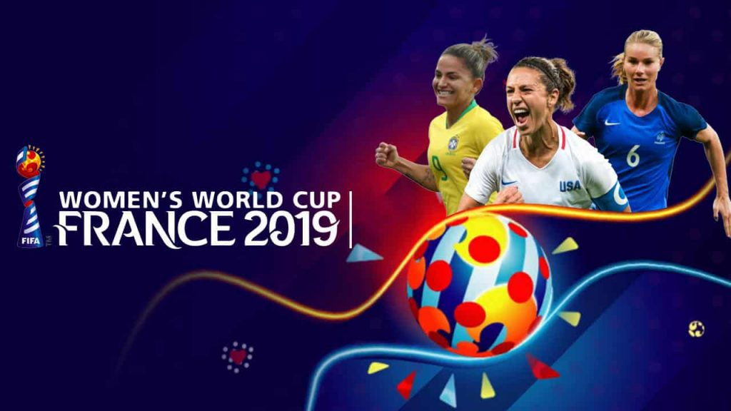 The logo of the 2019 Women's World Cup with pictures of three athletes.