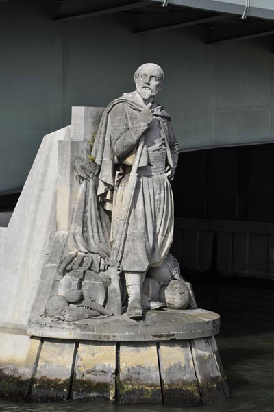 A photo of the Zouave statue, the flood marker of Paris