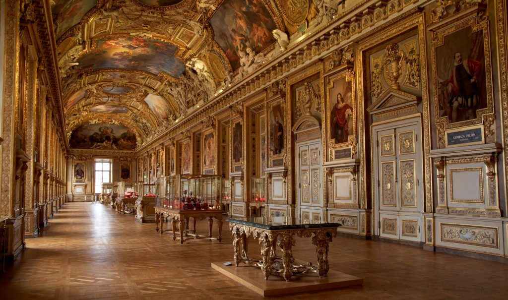 A photo of the Apollo Gallery at the Louvre