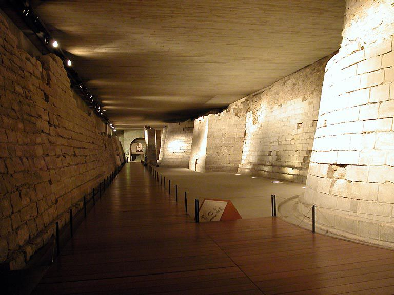 A photo of the remains of the original fortress of the Louvre