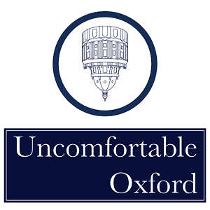 Logo of Uncomfortable Oxford with the upside down building.