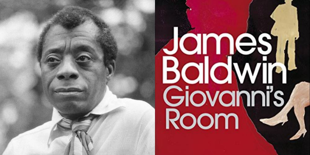 A photo of James Baldwin and the cover of his novel Giovanni's Room.