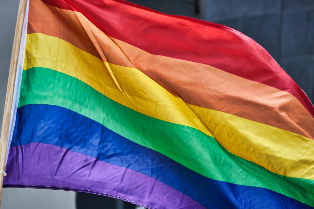 A photo of a rainbow flag to commemorate LGBTQ history in France.