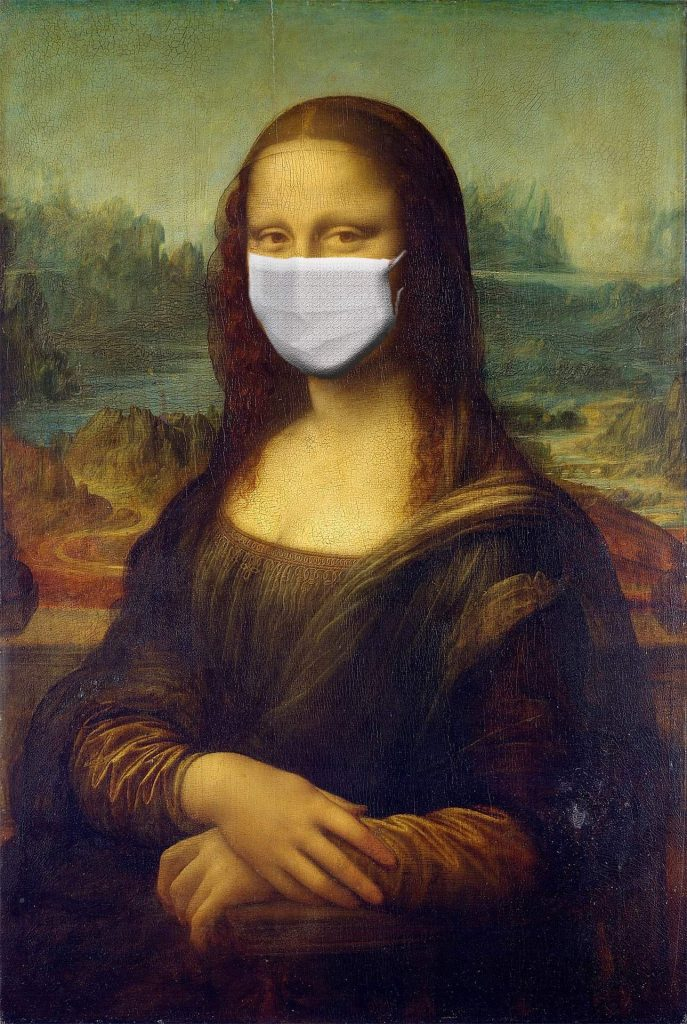 An image of the Mona Lisa wearing a face mask, which is one of the things to know when visiting Paris during COVID-19.