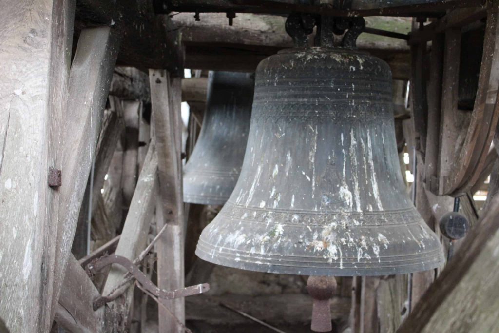 A photo of the bells in the belfry of the Tour Cesar.