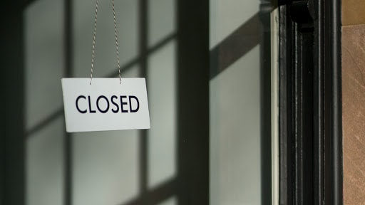 A photo of a closed sign, a common sight during the lockdown.