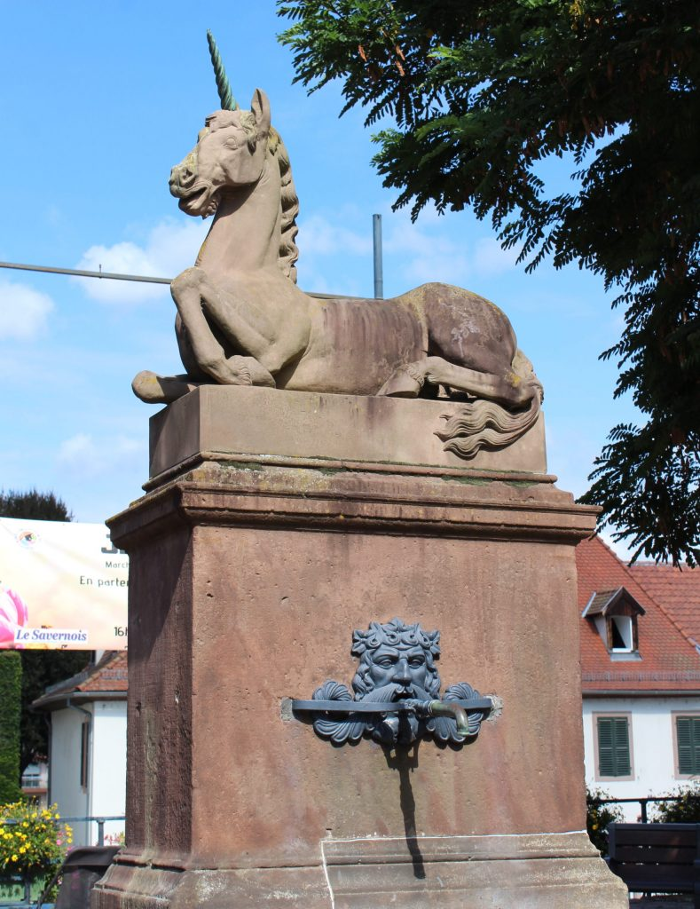 A photo of the famous unicorn fountain on the main street of Saverne.