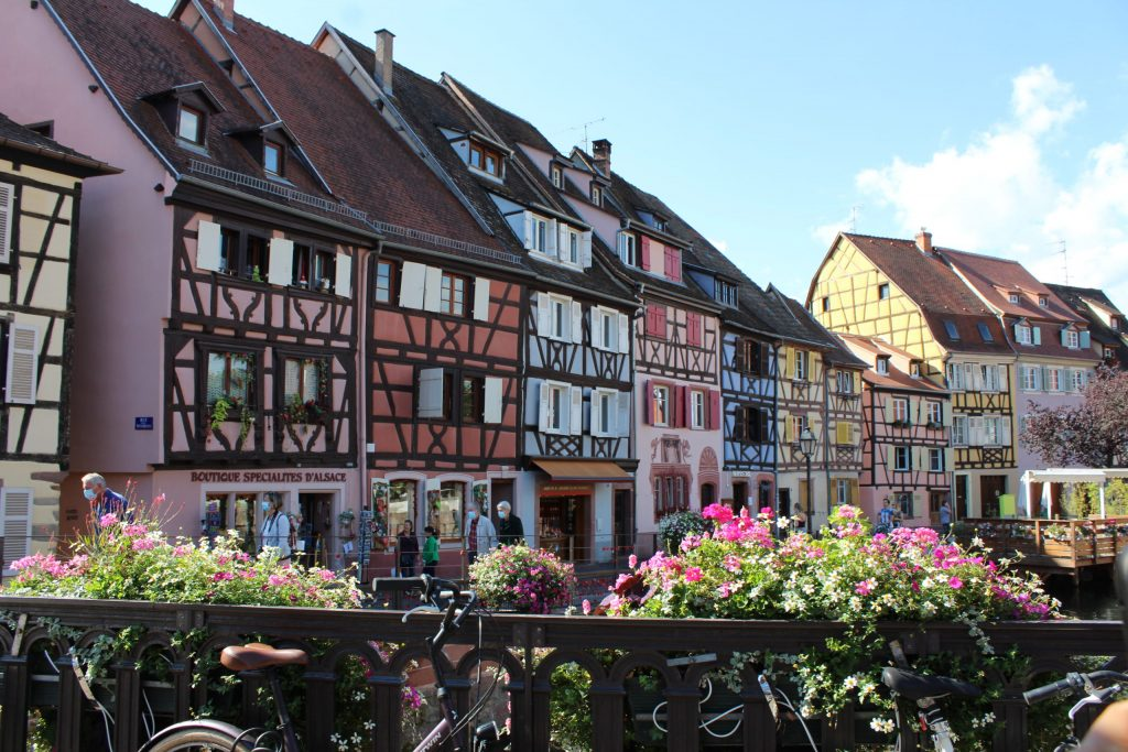 A photo of a row of colourful half-timbered houses in Colmar with flowers in the foreground.