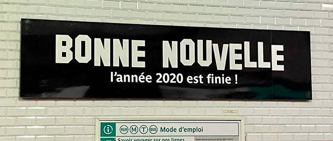 An image of the Bonne Nouvelle sign celebrating the end of 2020, even though you still have to experience France online instead of in person.