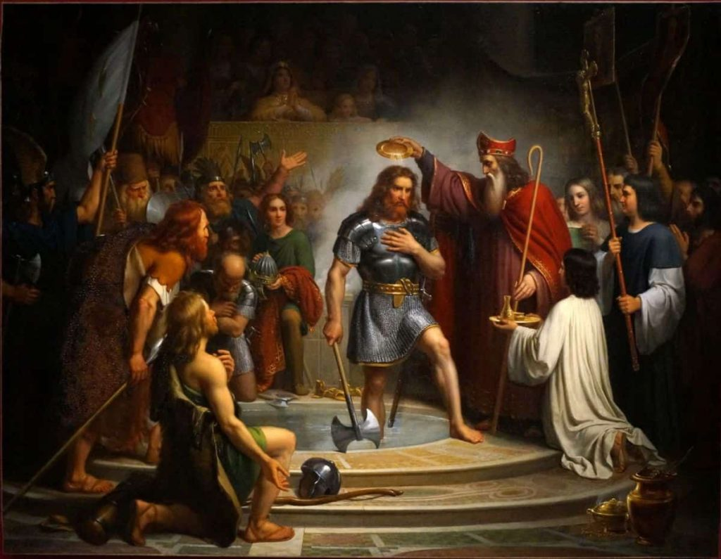 A 19th century painting of Clovis, King of the Franks, being baptized in Reims in 496.