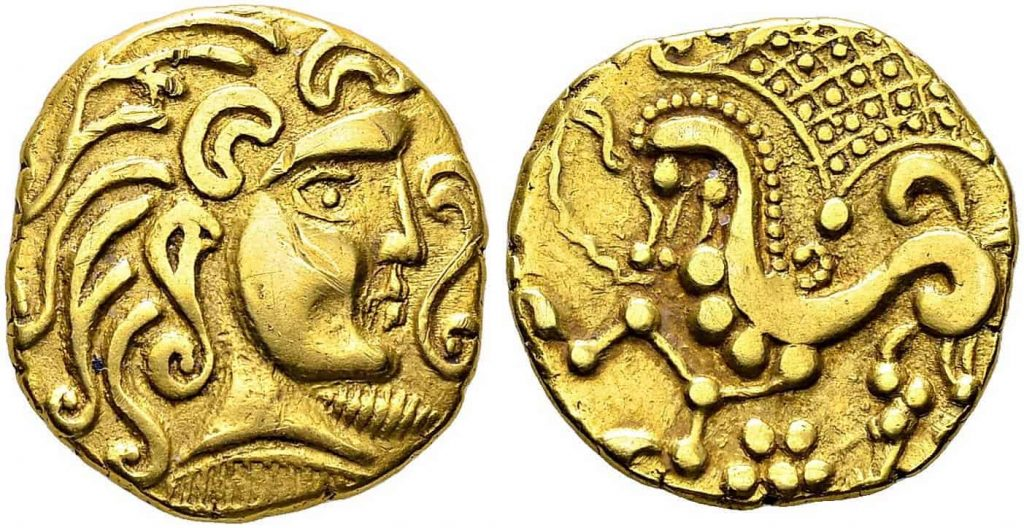 A photo of two gold coins minted by the Parisii tribe in the 1st century BCE.