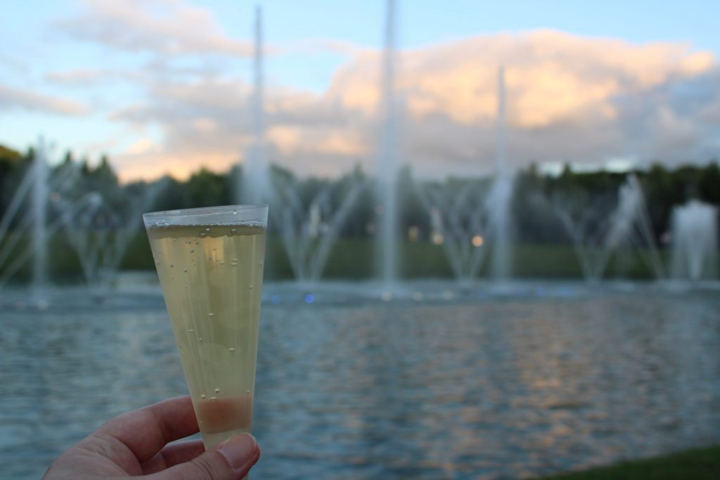 A close up photo of a glass of champagne, with a blurred image of the fountains in the background.