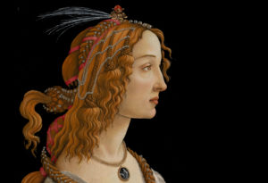 An image of one of Botticelli's works set against a black backdrop.